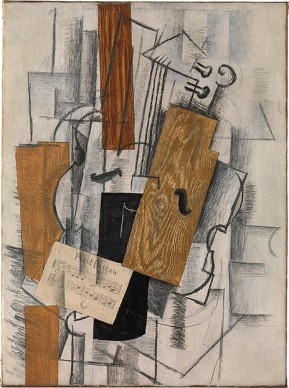 Braque, violin and sheet music, 1913