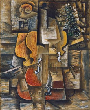 Picasso, violin and grapes, 1912